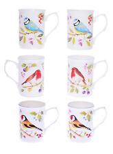 GARDEN BIRDS SET OF 6 10 Fl Oz BONE CHINA BEAKERS/ MUGS gift boxed