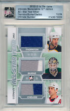 2012-13 ITG Ultimate JOE THORNTON Burke CHRIS CHELIOS Triple Jersey Patch #/24