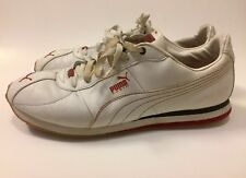 Puma Classic Men's Size 12 White Leather Shoes  Red Sole Vintage Low A230-S1
