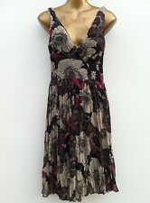 NEW LOOK Floral Grecian Style Chiffon Dress Size UK 8 Chocolate Multi WORN ONCE