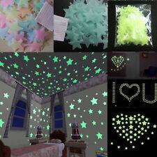 New 100Pcs Wall Glow In The Dark Stars Stickers Kids Bedroom Nursery Room Decor