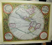 """Vintage 1960's Reproduction """"Map of the Americas, 1620"""" Map by Mercator"""