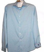 Ganesh Men's Blue Dots Cotton Soft Embroidery Design Shirt Size 2XL $128