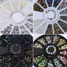 4Boxes 3D Nail Art Tips Glitter Rhinestones Jewelry Decoration Wheel Design DIY