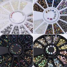4box 3D Nail Art Tips Glitter Rhinestones Jewelry Decoration Wheel Design DIY