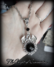 Crypt of Curiosities Small black dragon cameo necklace