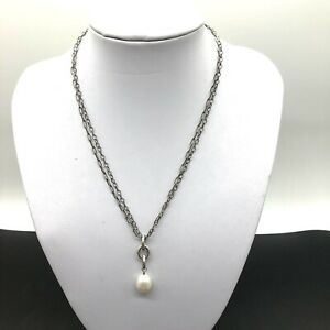 """Silpada Sterling Silver Pearl 18"""" Double Chain Necklace"""