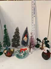 New ListingLot of 6 Vintage Style Christmas Trees, Various Ages; Wreath, Bottle Brush, Plus