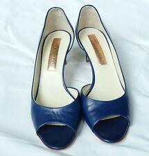 563fc290d21 New Rupert Sanderson Blue Leather Pumps Open Toe Mid-Heels Shoes Size EU37  US 7