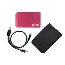 """1TB 1000GB External Hard Drive Portable 2.5"""" USB 2.0 HDD  with Warranty Red"""