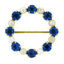 Antique Art Nouveau 14k Gold GIA No Heat Montana Sapphire Pearl Wreath Brooch