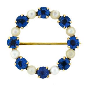Antique Art Nouveau 14k Gold GIA No Heat Montana Sapphire Pearl Wreath Brooch