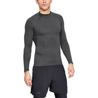 Under Armour Mens Heatgear Mock Compression Top Grey Sports Running Breathable