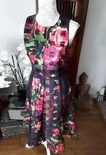 BNWOT  Ted Baker juxtapose fit flare floral herringbone midi dress ted 2 8 10