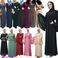 Women Arab Abaya Dress Vintage Long Sleeve Robe Islam Muslim Jilbab Kaftan Gown