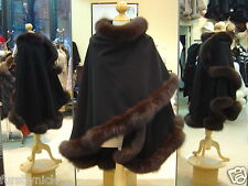 Black Cashmere Cape With Brown Fox Fur Trim Beautifully Canadian Label