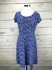 Michael Kors Dress Blue Print Skater Short Sleeve Zip Women's Size M