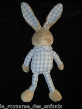 Doudou Lapin gris beige vichy bleu et blanc Bébé Laboratoires Klorane 39 cm