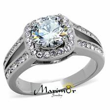 2.95 Ct Halo Round Cut CZ Stainless Steel Engagement Ring Band Women's Size 5-10