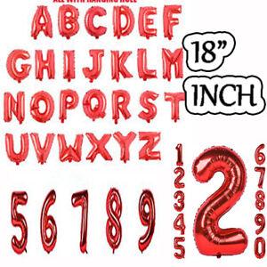 "RED FOIL 18"" Inch Alphabet Letter Number Foil Balloons NAME PARTY WEDDING"