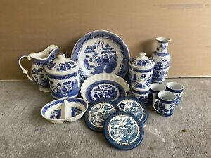 Antique Blue Willow Ware Japan - SET of 15