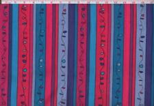 """FANCY STRIPES """"Dancing Doodles"""" Pink Purple Turquoise 100% Cotton Fabric  BTY"""