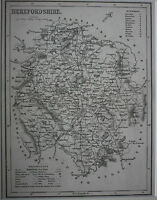 HEREFORDSHIRE original antique english county map, Joshua Archer, 1847