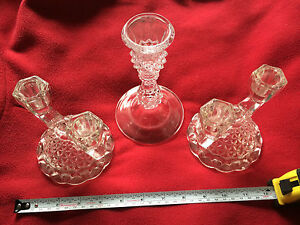 CRYSTAL GLASS CANDLE HOLDERS LOT OF 3