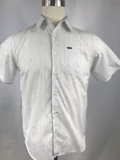 Hurley Men's White Short Sleeve Button Front Shirt Striped Size Small