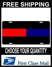 Red and Blue thin line License Plate