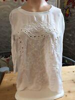 H&M Shirt 3/4 Arm Gr S Lochspitze Bestickt Weiß Chiffon feines Gewebe 1A Zustand