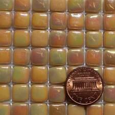 8mm Mosaic Glass Tiles - 2 Ounces About 87 Tiles - Iridescent Medium Cream