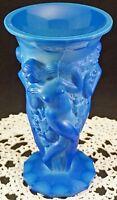 Stunning Art Deco Czech Ingrid Glass Line Circa 1930s Nude Female Art Vase BLUE