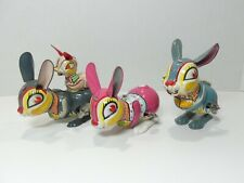 Lot of 3 Jumping Rabbit tin wind-up toys - Made in Japan