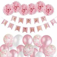 Birthday Decorations Girls, Happy Birthday Bunting Banner Balloons Set with