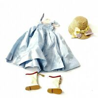 Vintage Prog Doll 1960s Doll Clothing Blue Dress White Boots Wicker Hat Hanger