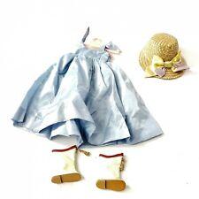 Vintage Prog Doll 1960s Doll Clothing Blue Dress White Boots Wicker Hat Hanger