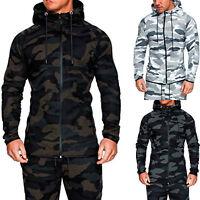 Men Camo Army Hoodie Classic Sport Hooded Zipper Sweatshirt Outwear Coat Jacket