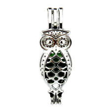 5pcs/lot Silver Alloy Owl Hollow Locket Pendant Beads Cage Charms K593