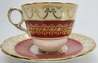 Royal Stafford 1940's Bone China Teacup and Saucer, Burgundy & Gold
