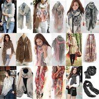 Womens Ladies Elegant Scarves Soft Cotton Silk Wrap Shawl Scarf Long Voile Stole