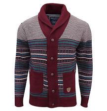 2adafa576d Soul Star Men s Stifler Nordic Striped Knitted Cardigan Deep Red Medium    Chest 38-40