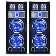 """2x Skytec Dual 10"""" Inch Blue LED PA Speakers Sound System Package 1600W UK Stock"""