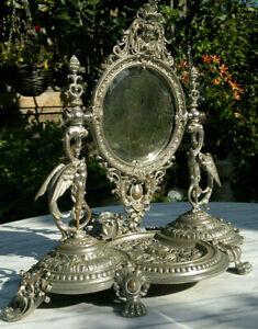 Antique French Gothic Silvered Bronze Griffin~Cherub Vanity Table Mirror c1880
