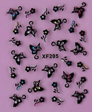 Black Butterfly Rhinestone Flowers 3D Nail Art Stickers Decals Tips Decoration