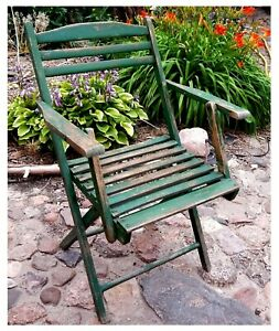 alter Gartenstuhl_Klappstuhl_Scherenstuhl Gartenstuhl_Holz, Vintage, Shabby