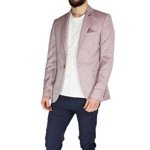 Veste Homme Élégant Casual Slim Fit Poche Boutons Motif Micro Rouge Sarani