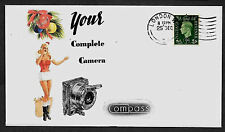 1937 Compass Camera Ad & Pin Up Girl Featured on Collector's Envelope *A1038