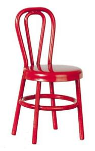 Dolls House Red Metal Bistro Chair 1:16 Scale Furniture
