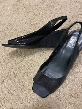 Guc yellow box black sequin wedge sandals size 9